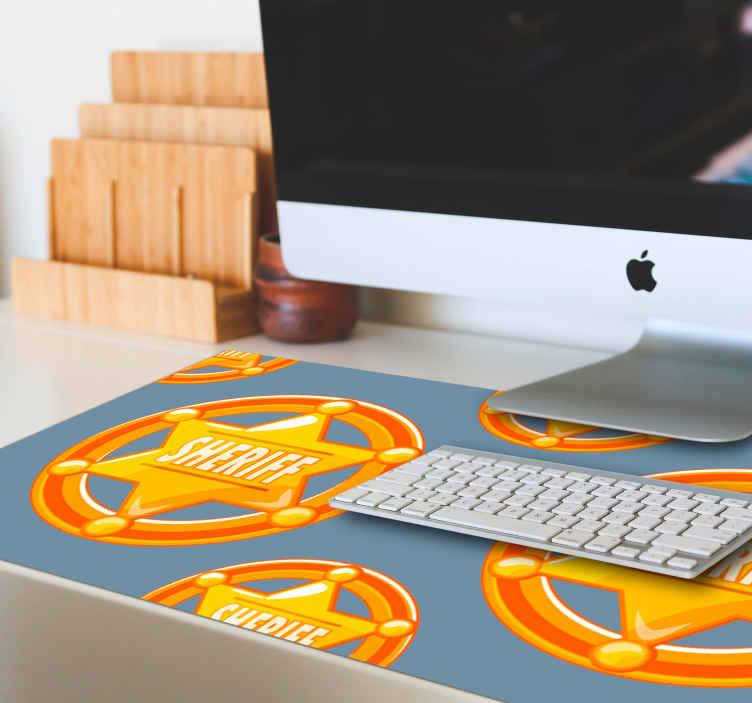 TenStickers. Cowboy star with name mouse pad. Buy our amazing mouse mat with a sheriff's badge design to enjoy your working computer desk space like an officer. It is easy to maintain.