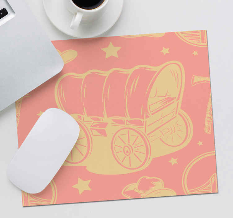 TenStickers. Cowboy wagon mouse pad. Beautify cowboy's wagon  mouse pad design to lighten up your table space while working with your mouse. It is made of good quality.