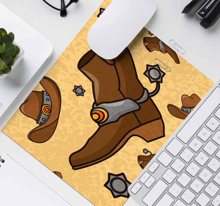 TenStickers. Hat and boots pattern mouse pad. Western cowboy featured design mouse pad for your mouse use. This design host a cowboy's boot and hat with sheriff officer's badge.