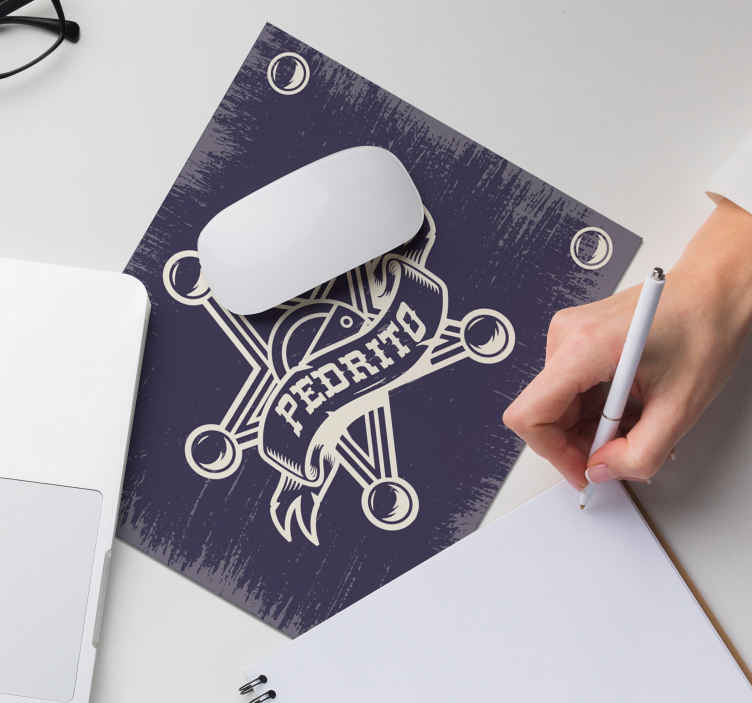 TenStickers. Sheriff with name personalised vinyl mouse pad. Beautiful personalisable iconic western mouse pad design. The product is made of good quality and very easy to maintain and store.