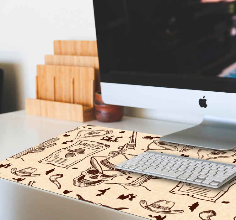 TenStickers. Western icons mouse pad. Decorate your desk and at the same time enjoy a wonderful experience while working on your compute with our original mouse pad with western design.