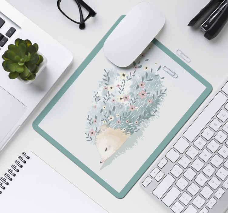 TenStickers. Porcupine art hedgehog mouse mat. Lovely mouse mat with a porcupine art design. It is easy to maintain, made from high quality material and available in various sizes.