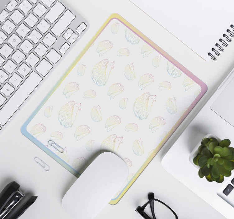 TenStickers. Porcupine dawned in lines hedgehog mouse mat. Colorful drawn porcupine mouse mat design.  A calm and appealing design for your mouse space. It is easy to maintain and of high quality.