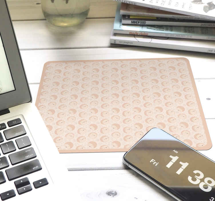 TenStickers. Porcupine pattern hedgehog mouse mat. Lovely hedgehog mouse pad design for your mouse space. The design is printed with various porcupine design. It is easy to maintain.