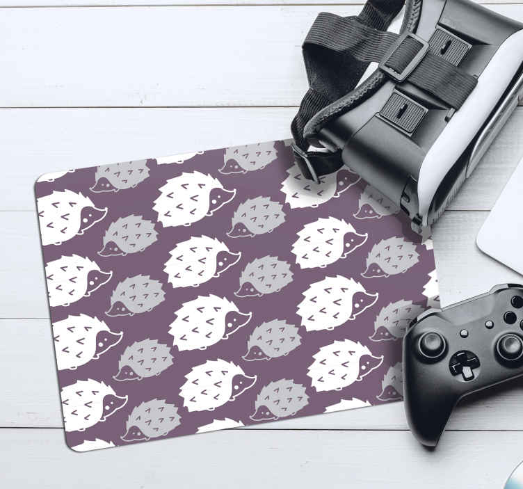 TenStickers. Simple Porcupine hedgehog mouse mat. Hedgehog vinyl mouse mat with the design of porcupines on a purple background.  A simple trendy mouse pad with a friendly surface texture for mouse.