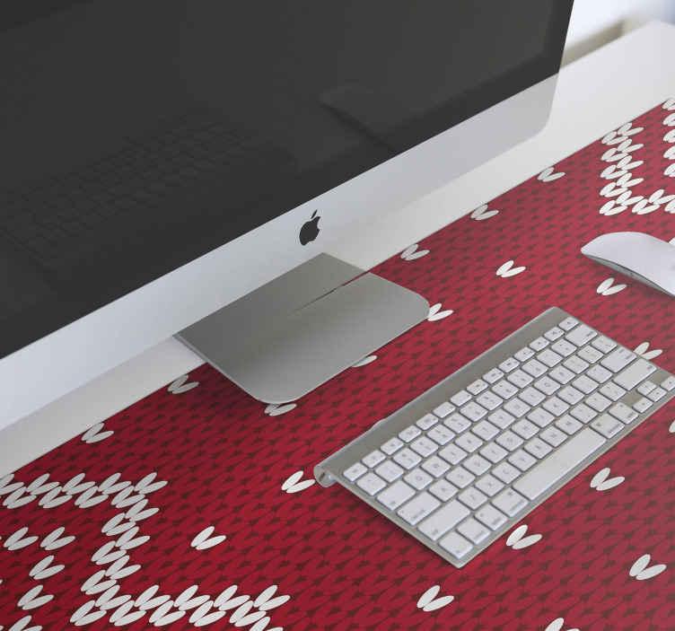TenStickers. Рождественский коврик для мыши с типичным рисунком. Рождественский коврик для мыши. Дизайн украшен белыми декоративными элементами на красном текстурированном фоне. проста в уходе и оригинальна.