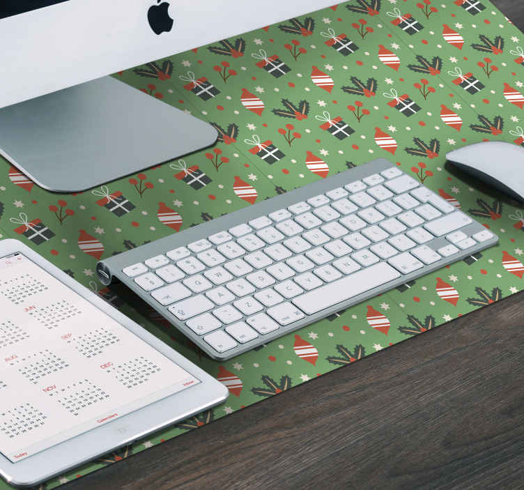 TenStickers. Candy pattern green Christmas mousepad. Green pattern Christmas mousepad. The design features different ornamental elements illustrating Christmas. Easy to maintain and original.