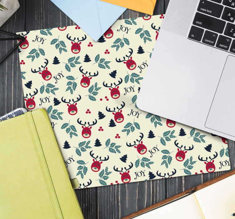 TenStickers. Joy and reindeer christmas mousepad. Lovely featured ornaments and reindeer Christmas mousepad for your mouse space The product is made with best of quality material and easy to maintain.