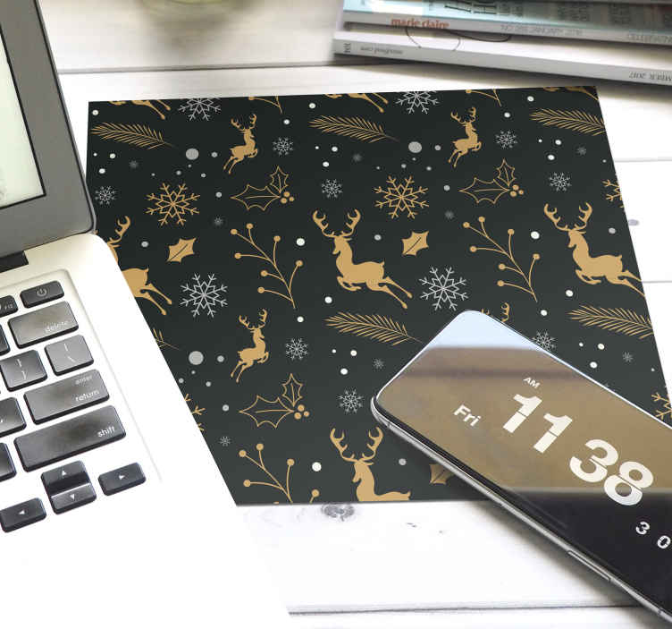 TenStickers. Merry Christmas composition mousepad. Merry Christmas composition mousepad. The design contains various elements that illustrate Christmas and the season. Easy to maintain and original.