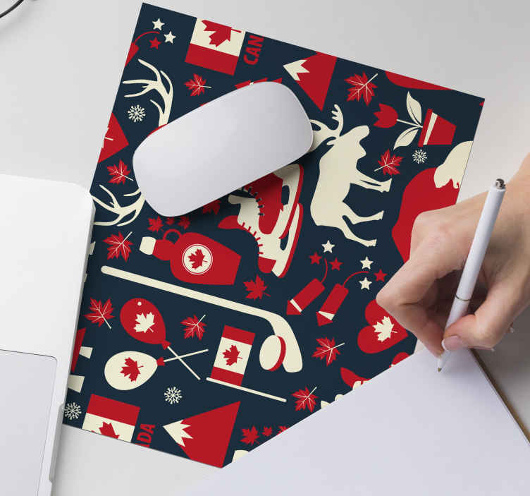 TenStickers. Canadian symbols pattern original vinyl mouse pad. Canadian icons symbol mouse pad. The design features different iconic representation for Canada. Made from high quality material.