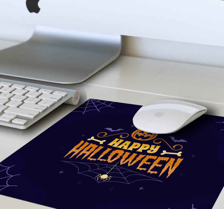 TenStickers. Happy Halloween mouse mat. Dark background Halloween mouse pad featured with different elements. On the design is an orange colour pumpkin with bones, spider crawling on  it web.