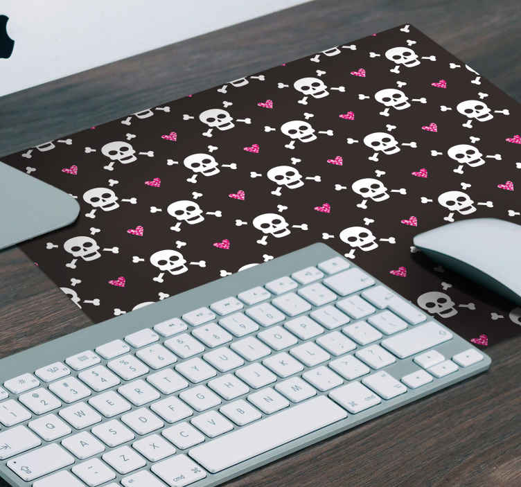 TenStickers. Fashion Halloween mouse pad. Check out this design mouse mat of  skull and bones featured together with love hearts on a dark background. It is original and easy to maintain.