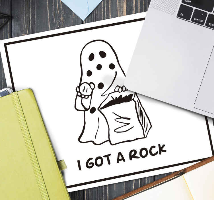 TenStickers. Boo I got a rock vintage mouse pad. Black and white mouse pad with Halloween drawing illustration. It has a horror image that depicts Halloween and the text '' I got a rock''.