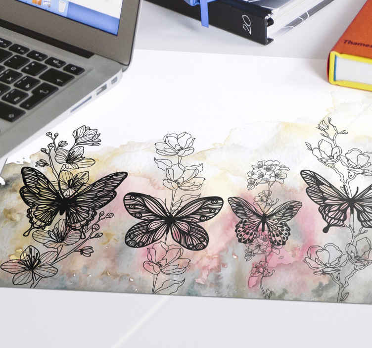 TenStickers. butterfly art mouse mat. Vinyl mousepad with butterfly and flower. The design has an abstract colorful painted background with butterflies and flower plants.