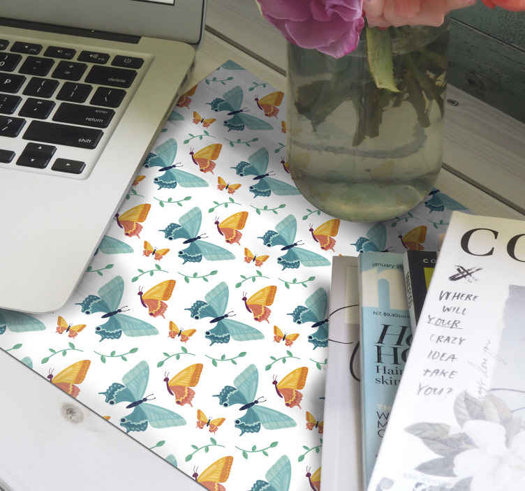 TenStickers. Bicolor Butterflies mouse mat. Bicolor butterfly mouse pad manufacture with high quality material. The product has a high surface finish that allows easy movement of mouse.