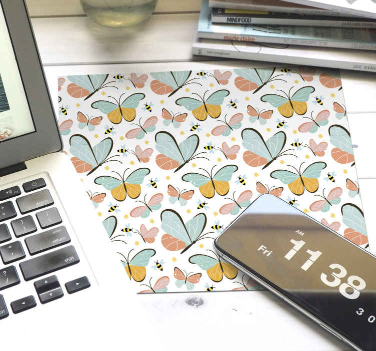 TenStickers. butterflies and bees butterfly mouse mat. Working all day on a computer space can be stressful but you can add a bit of fun with our original mouse pad with colorful butterfly and bee design.