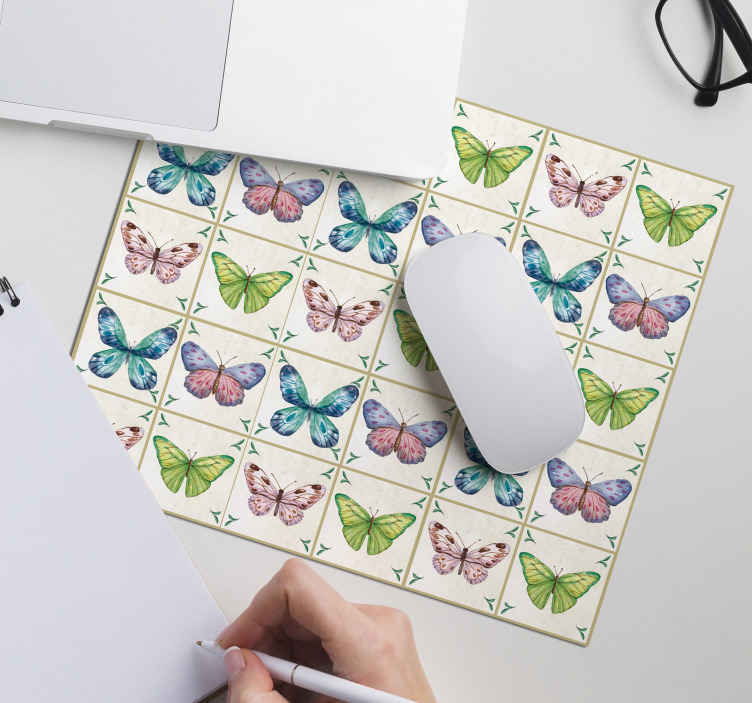TenStickers. butterflies tiles butterfly mouse mat. Now you can enjoy an interesting featured mouse pad design with our high quality butterfly vinyl mouse pad. Available in sizes and easy to clean.