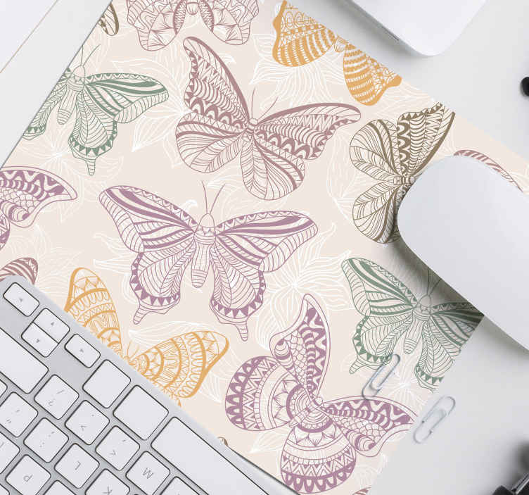 TenStickers. Colored ornamental butterflies butterfly mouse mat. Colored ornamental butterflies mousepad for your mouse use. You deserve something pretty while working on your desk space with your mouse.