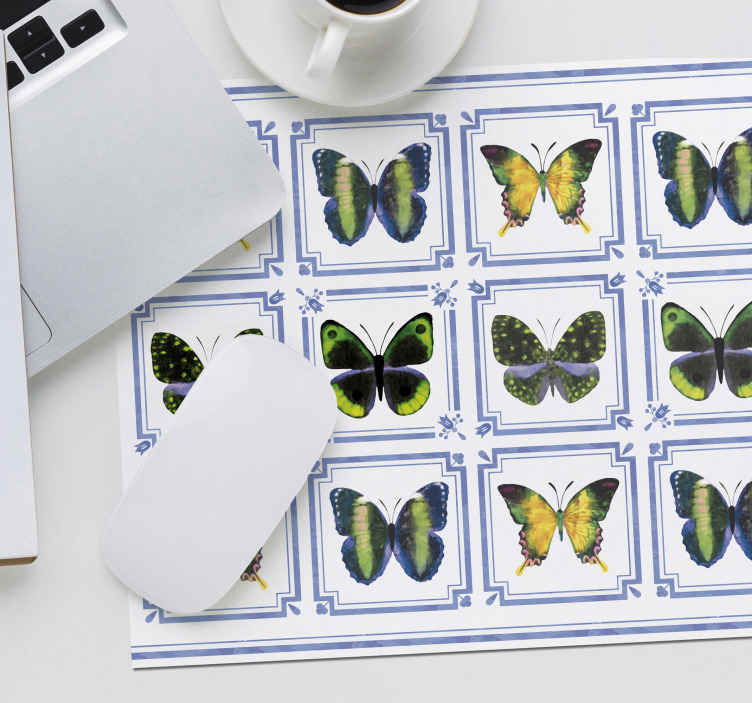 TenStickers. Colorful butterflies tiles mouse mat. Colorful butterflies tiles mousepad, it design contains lovely different colours of butterflies printed on tile patterned background.