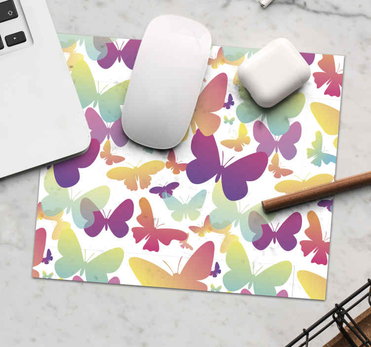TenStickers. Gradient butterflies butterfly mouse mat. Colorful butterflies mousepad with it design created in transparent and solid texture on white background. Available in different sizes and original.