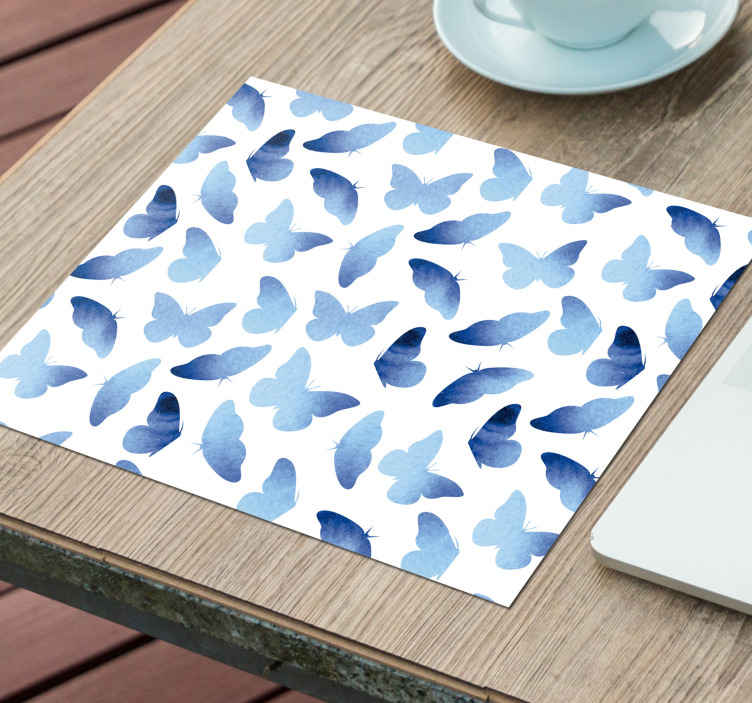 TenStickers. Painted butterflies mouse mat. Painted blue butterflies mousepad created on a white background. A lovely piece of element to provide a mouse with a friendly surface to move on.