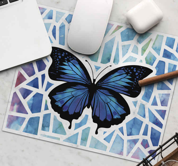 TenStickers. Trendy butterflies pattern mosaic butterfly mouse mat. Blue colour mouse mat with butterflies design. The background is patterned in mosaic pattern and it would make an amazing surface for your mouse.