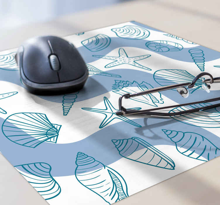 TenStickers. seashells patterns seashell mouse mat. Add this beautiful seashell vinyl mouse pad to you desk for so much more character. Sign up for 10% off your first order.