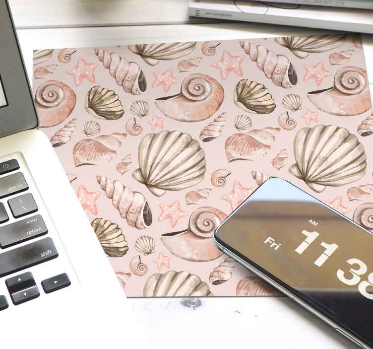 TenStickers. seashells seashell mouse mat. Beautiful decoratiif mouse pad patterns, the design contains small prints of seashells in tile patterns can also be delivred at home