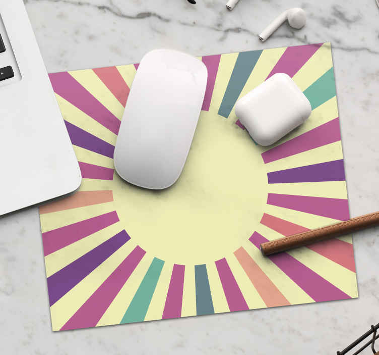 TenStickers. 70's Geometric Sun 70's sun mouse mat. This sun mouse mat design with a abstrait geometric sun and light will amaze your desk, what are you wiaitng for! Order no ith the home delivery!