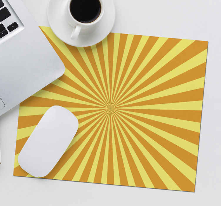 TenStickers. Abstract Sunset with orange tones mouse mat. Make the use of your mouse with this abstract yellow and orange mouse pad with a squared shape! Variety of sizes available!