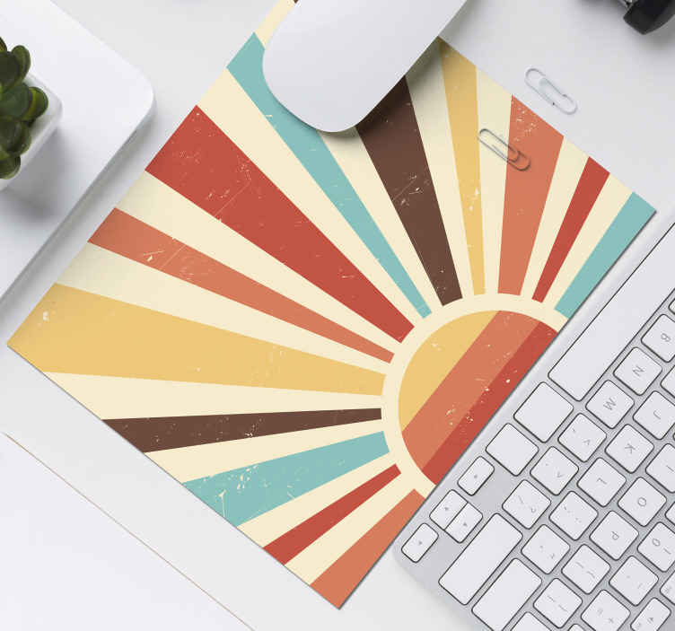 TenStickers. Abstract Vintage Sunset  70's sun mouse mat. This original vinyl louse mat is perfect  for your desk and your computer mouse, impress your friends and familly with it! Home delivery!