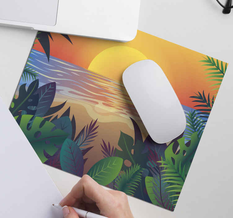 TenStickers. Retro Sun Bearch 70's sun mouse mat. This 70's sun mouse padmore  is the perfect equipment you need for your office. High quality sticker and very durable. Home delivery !