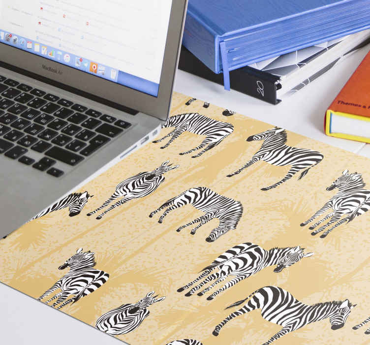 TenStickers. Palm Trees and zebra mouse mat. Zebra and tree mouse pad which features a stunning pattern of zebras, all in unique positions. High quality materials used.