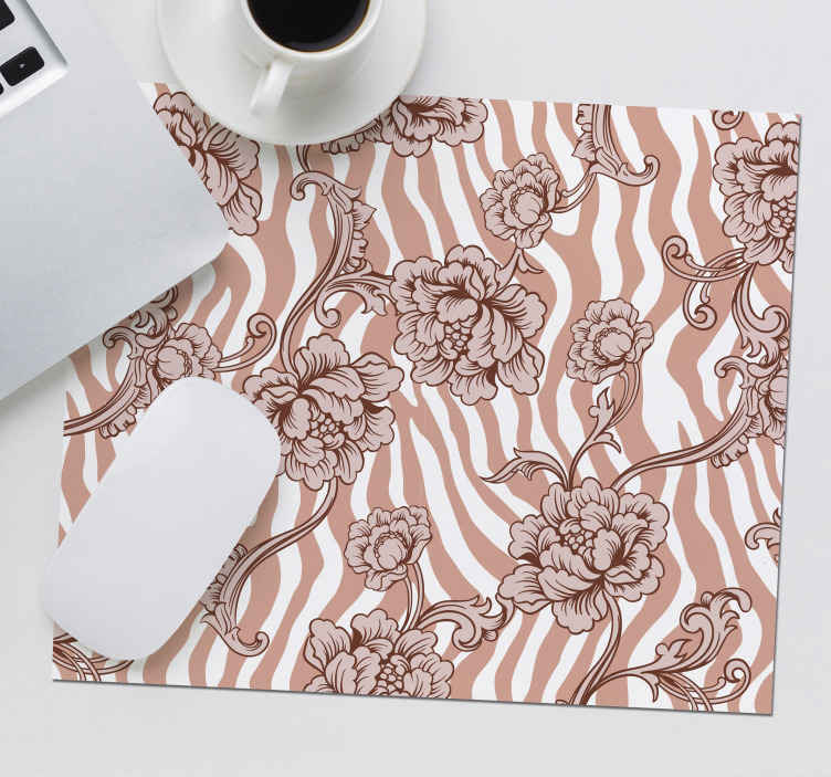 TenStickers. Beige Zebra Print with Flowers mouse mat. Floral zebra print mouse pad which features a brilliant beige zebra print pattern with intricate drawings of flowers on top.
