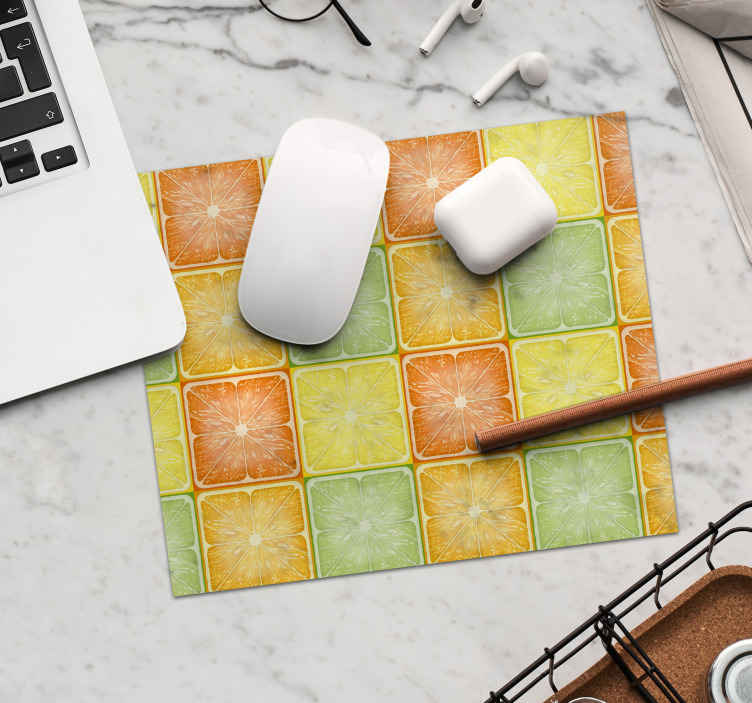 TenStickers. Colorful Citrus Texture citrus mouse mat. Pattern mouse pad with illustration of square slices of citrus fruits in yellow and orange, ideal for you to fill with joy and color the environment.