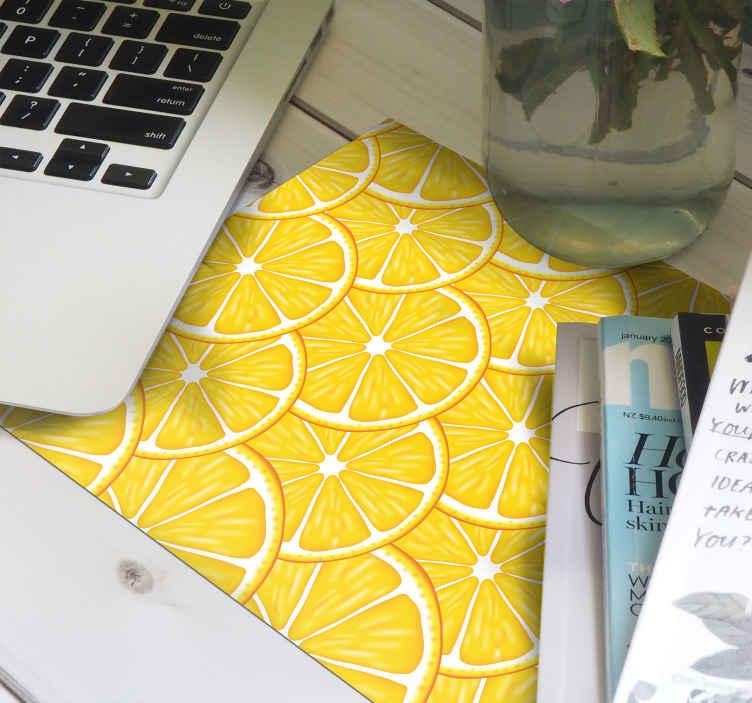 Tenstickers. Oransje mønster sitrus musematte. Denne sitrusmousepad-designen vil være perfekt for hjemmekontoret eller for din bærbare datamaskin! Hjemlevering og veldig enkelt å rengjøre!
