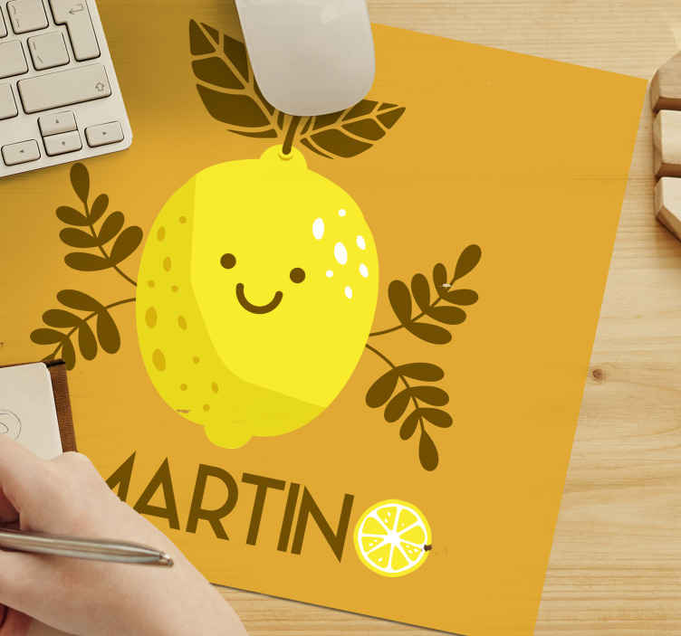 TenStickers. Smiling lemons personalized custom mousemats. Order this unique and good looking personalized mousepad design today and be happy! Home delivery soon. Can easily be washed with hot water! Buy now!