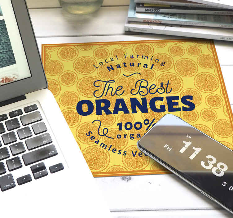 TenStickers. MOUSEPAD Orange hand draw pattern frame citrus mouse mat. Original mouse pad Orange hand draw pattern frame, ideal for you to use your laptop mouse with comfort and a super original style.