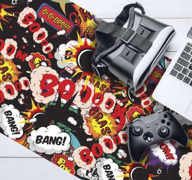 Speel altijd in stijl met deze spectaculaire gamingmuismat met een pop-artstijlpatroon met stripboekmotieven. Van hoge kwaliteit.