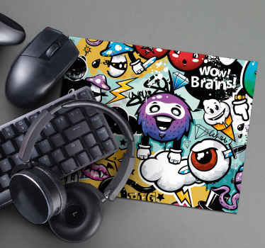 Add color and life to your desk with this fun gaming mouse pad with a graffiti pattern that will make it easier for you to use your mouse.