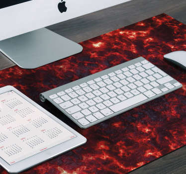 Make your gamers friends jealous and decorate your desk in an exclusive way with this gaming mouse pad with a red lava pattern on a black background.