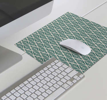 Wonderful floral mouse pad with a pattern of green leaves on a beige background in an ethnic style that will make your computer work much easier!