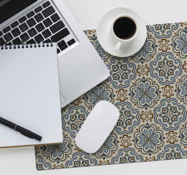 Decorate your desk with this beautiful tile mouse pad with a pattern of floral tiles in soft colors that anyone will love.