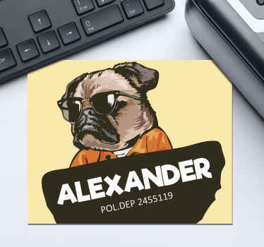 Personalised mouse mat which  features a cartoon image of a pug wearing sunglasses and jumpsuit with your name in front. Personalised.