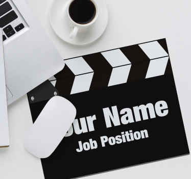 Personalised mousepad which features an image of a traditional director's clapperboard with the option to add your name and job position on.