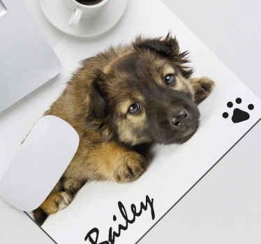 персонализированный коврик для мыши с фотографией собаки, который содержит персонализированную фотографию собаки по вашему выбору с именем вашей собаки под ней.