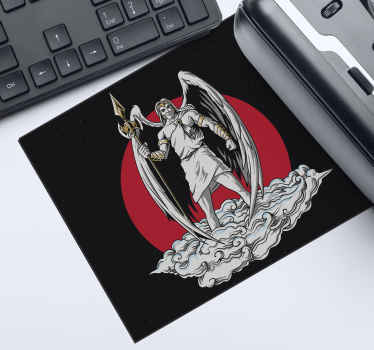 Anime mouse mat which features an image of an angel dressed in heroic clothes, stood on a cloud. High quality materials.