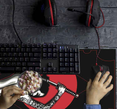 Anime mouse pad which features an image of a woman holding a samurai sword on a black and red background. Anti-bubble vinyl.