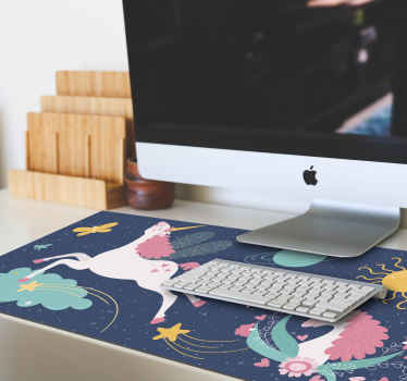 Unicorns original mouse pad design  featured with  with pretty unicorns and various space elements on a deep blue background.