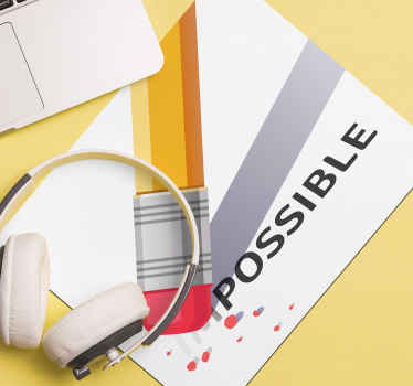 Motivation quote mouse pad quote of possibility.  A plain background design with an eraser striking off the the prefix of the word ''Impossible''.